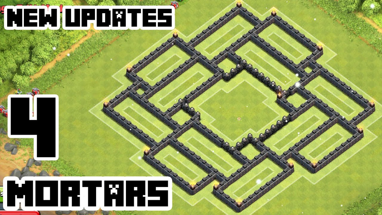 New Layout Th9 4 Mortar Base Layout With 4 Mortars