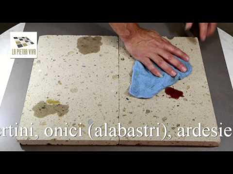 Trattamento idrorepellente su piastrelle in tufo