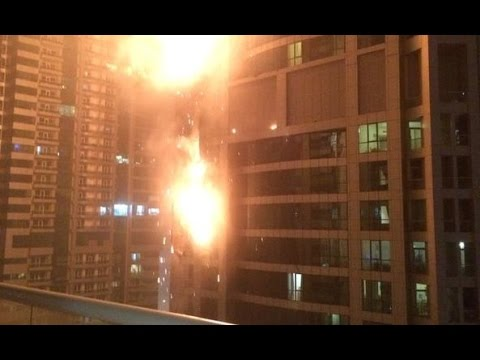 Raw: Massive Fire Engulfs Dubai Marina Torch Residential Tower video