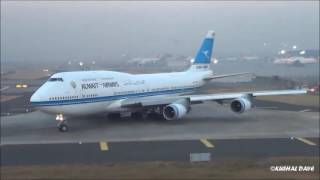 Kuwait Airways 747-400 Beautiful Taxi, Takeoff and from Mumbai Airport
