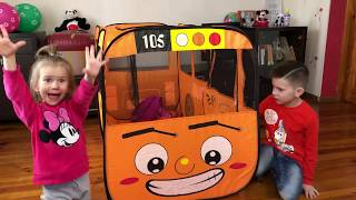 Kids pretend play with School bus Wheels on the Bus song for kids by JoyJoy Marik i  Lika