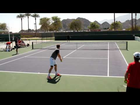 Andy Murray and Richard Gasquet Practice Serves 2012 BNP Paribas Open