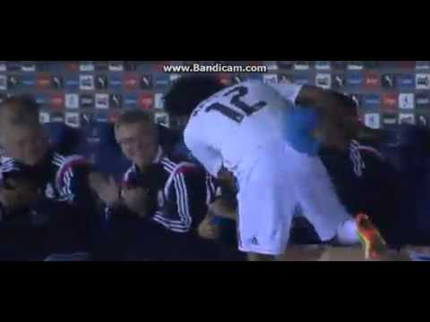 Marcelo Goal celebration with James Rodriguez - Cornella 1-4 Real Madrid