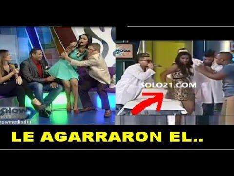 Le agarran el trasero a la ex Miss RD Massiel Taveras en pleno programa en vivo