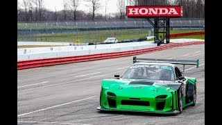 4 rotor Rx7 race car GT700 wet track small drifts pedal view Defined Autoworks