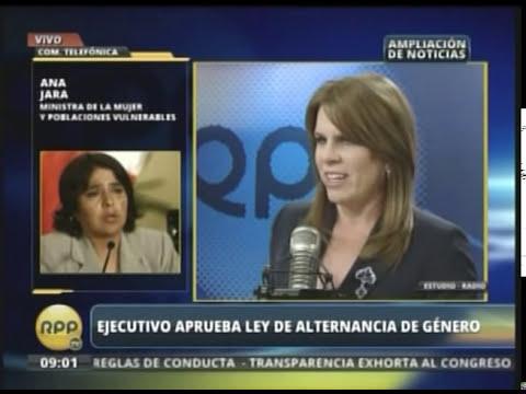 Ministra de la Mujer, Ana Jara en RPP. Tema: Ley de Alternancia de Género,