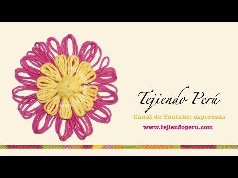 Flor doble tejidas en telar de reloj (redondo)