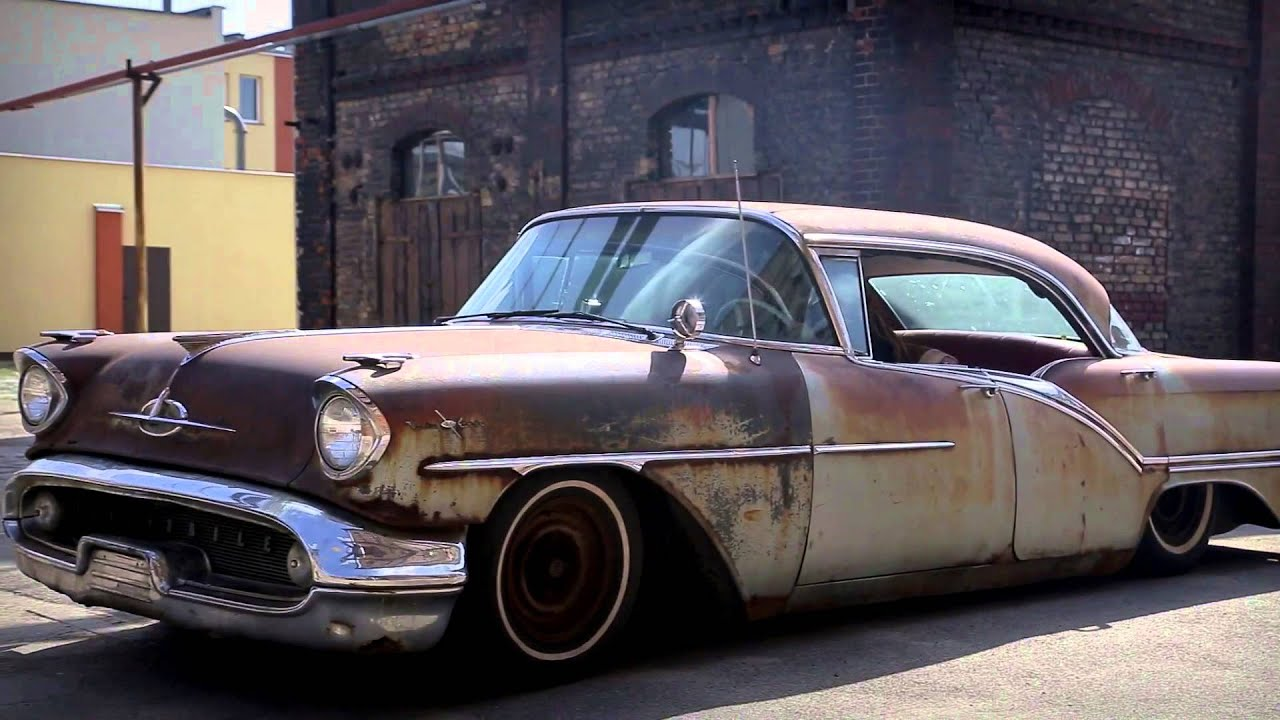 Oldsmobile 57 patina airride lead sled rat rod youtube