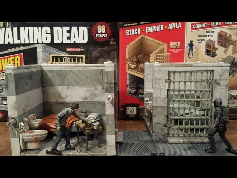 The walking dead lower prison cell building set review ( HD)