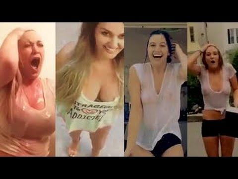 ALS Ice Bucket Challenge - Girls in transparent T-Shirts