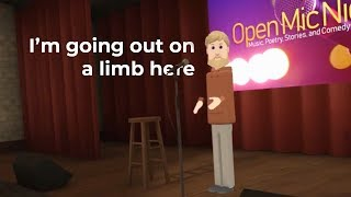 people in VR hold an open mic night