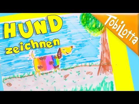 HUND ZEICHNEN -  Regenbogen  HUND Anleitung, Zeichnen Malen Kunst Tutorial Tiere Kawaii zeichnen