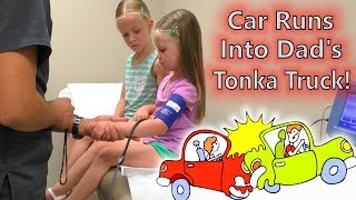 Tonka Truck vs Honda! Car Accident While Filming a Video & Doctor Visit Check Up