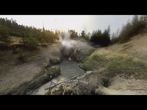 Watch Old Faithful's epic eruption in 360 degrees at Yellowstone National Park