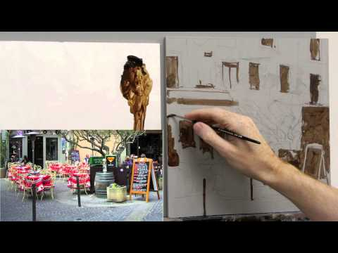 Acrylic painting tutorial - French cafe scene - Part 2