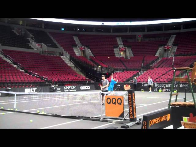 Andre Agassi and Jim Courier lose a point to Portland fans