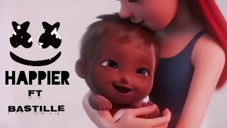 Marshmello ft bastille-happier(emotional animation HD music video 2018)