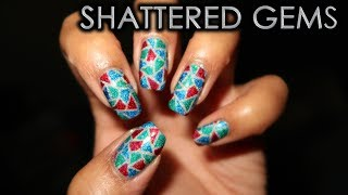 Shattered Gems | 12 Days of Christmas Nail Art | DIY Tutorial