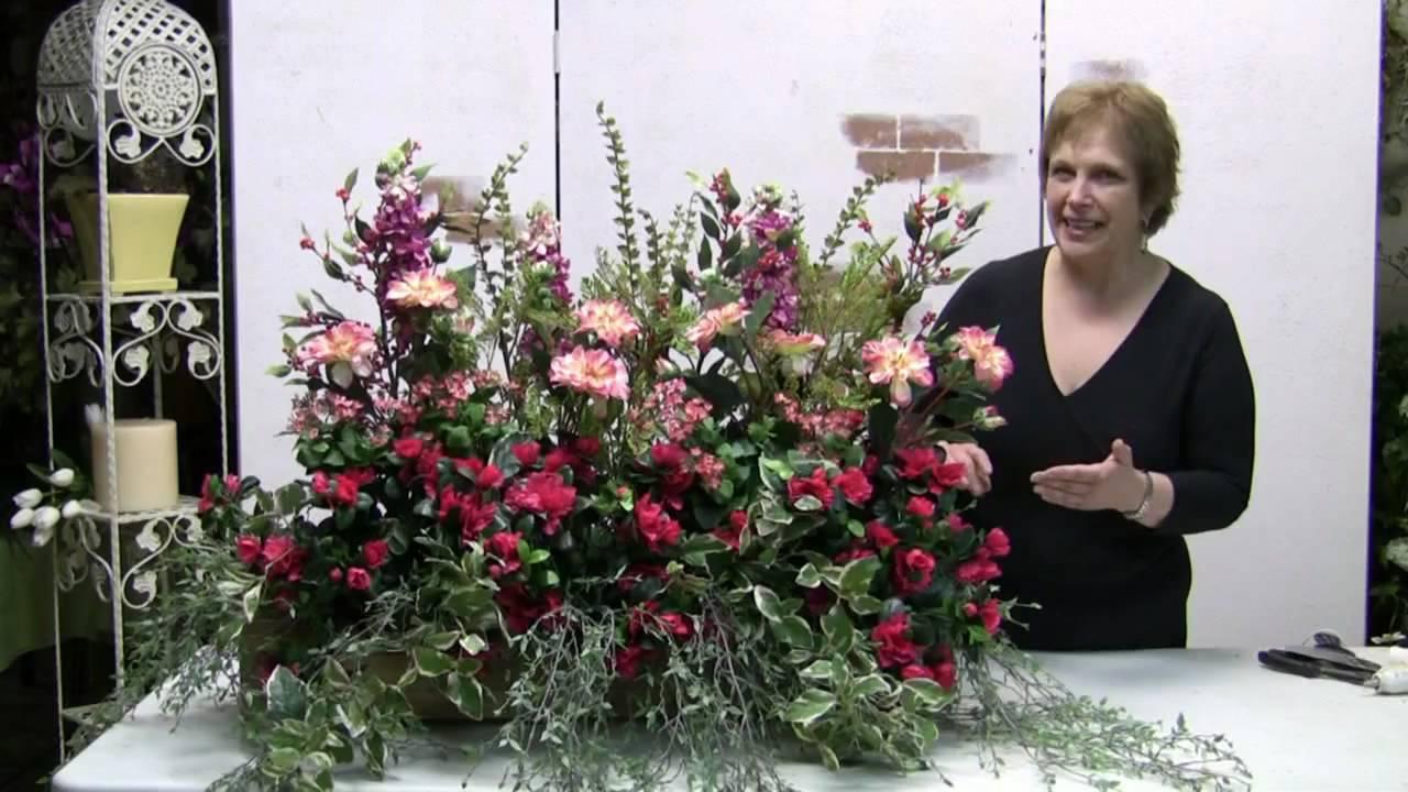 How to make a windowbox arrangement with silk flowers for How to make artificial flower arrangements