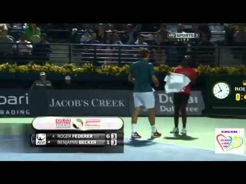 Roger Federer Hot Shot vs Benjamin Becker Match Point ATP Dubai 2014