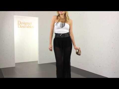 Prey Of London Sheer High Split Black Maxi Skirt With Shorts