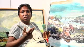 painter shohag parvez talk. water color. in gallery athena. studio. 06.08.2015