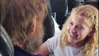 Teen's act of kindness toward blind and deaf man alone on flight goes viral