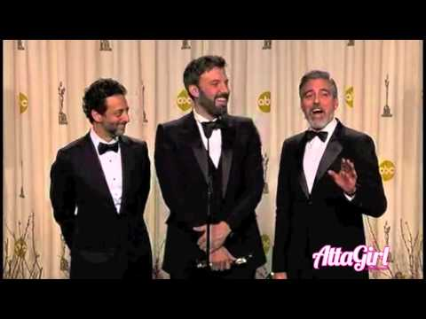 Ben Affleck & George Clooney backstage Best Picture Win for ARGO @ Oscar's 2013
