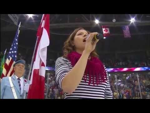 Video: Canadian singer stickhandles her way through The Star Spangled Banner