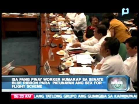 Pinay 'worker' Humarap Sa Senate Blue Ribbon Committee Para Patunayan Ang 'sex-for-flight Scheme' video