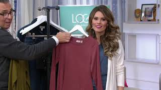 LOGO by Lori Goldstein Cotton Modal Top with Cross Ruffle Detail on QVC