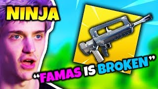 NINJA SAYS FAMAS BURST ASSAULT RIFLE IS BROKEN | Fortnite Daily Funny Moments Ep.68