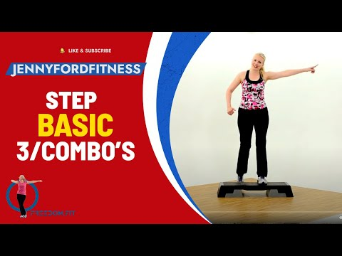 Step Aerobics Basic w/3 Combos-Fitness Cardio Workout -- Jenny Ford