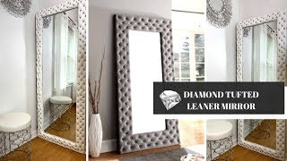 "Huge 70"" Diamond Tufted Leaner Mirror DIY 