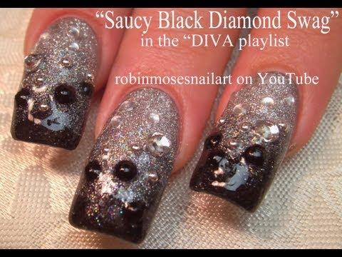 3 Nail Art Tutorials | Black and Silver Glitter Ombre | Diva Nail Design