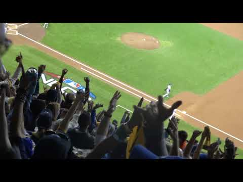 BrewersDodgers NLCS Game 6 Jesus Aguilar 2 RBI Double