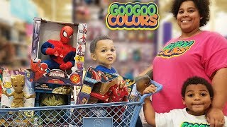 GOO GOO GAGA HELP MOMMY PRETEND SHOP FOR INFINITY AVENGERS PLAY TOYS!
