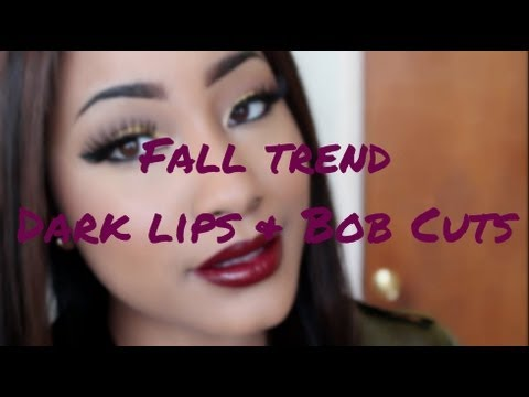 Fall Trend| Bold Lips & Trendy Hairstyles Bob Cut