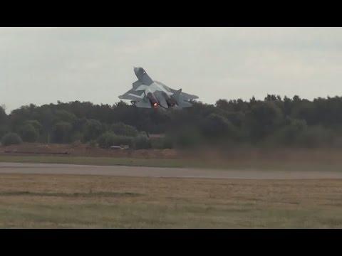 ПАК-ФА (Т-50). Взлет на форсаже. Авиасалон МАКС 2015