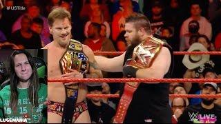 WWE Raw 1/9/17 Jericho KO vs Roman Reigns