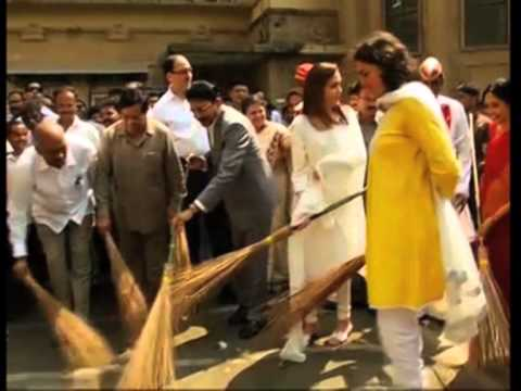 Indian billionaire Mukesh Ambani's wife wields broom to clean Mumbai