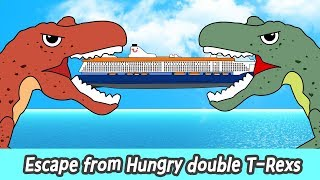 Escape from hungry double T-rexs! dino cartoons for kids, dinosaurs names for childrenㅣCoCosToy