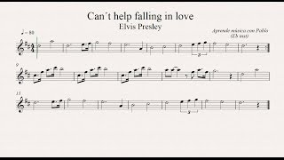 CAN´T HELP FALLING IN LOVE: Eb Inst (saxo alto, saxo barítono...) (partitura con playback)