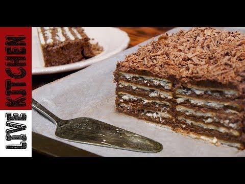 Εύκολος κορμός ψυγείου - (Με λίγα υλικά) No Bake Biscuit Cake with Pudding Recipe