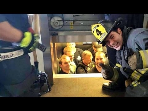 Firefighter Snaps Silly Photo While Saving Police Officers Stuck In Elevator