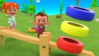 Little Baby Girl Fun Play Learning Colors for Children with Color Tires Bounce Seesaw Toy 3D Kids