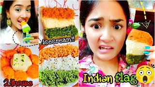 I only ate INDIAN FLAG inspired food for 24 HOURS challenge!!! Nilanjana Dhar | INDIA