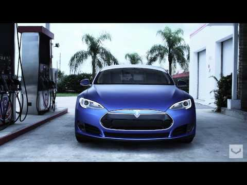 "Tesla Model S on 22"" Vossen CV1 Concave Wheels 