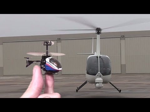 Worlds smallest RC Heli flown inside real helicopter : Silverlit Nano Falcon