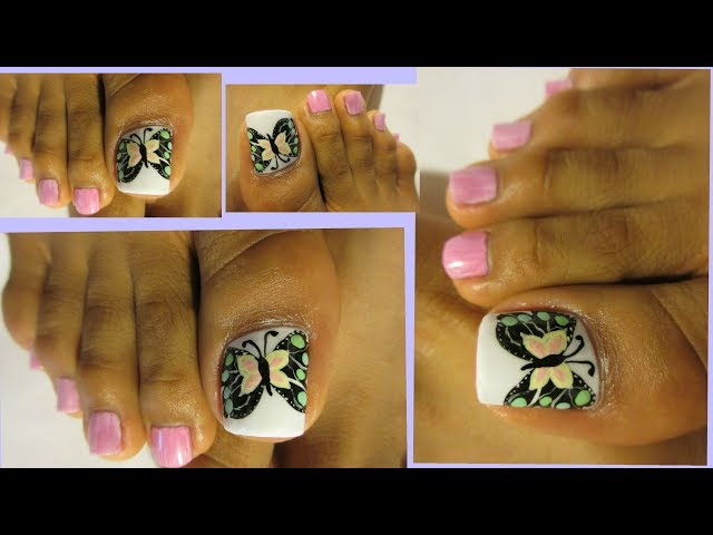 Bonito pedicure con mariposa de colores paso a paso/butterfly design toe nail art